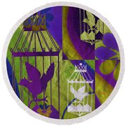 3 Caged Birds Round Beach Towel