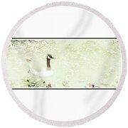 Canada Goose On A Stream In Autumn Round Beach Towel