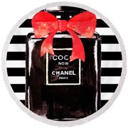 Chanel Noir Perfume Round Beach Towel
