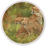 Cheetahs Round Beach Towel by David Stribbling