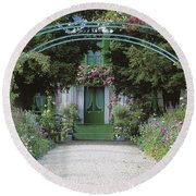 Claude Monet's Garden At Giverny Round Beach Towel