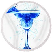 Cocktail Drinks Glass Watercolor Round Beach Towel