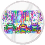 Round Beach Towel featuring the painting 3 Colorful Painted Frogs by Nick Gustafson