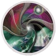 Cosmic Surfer Round Beach Towel