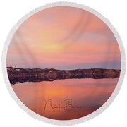 Crater Lake Oregon Round Beach Towel by Nick Boren