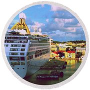 Cruise Ship In Port Round Beach Towel