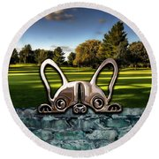 Dog And Landscapes Collection Round Beach Towel by Marvin Blaine