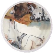 Dogs Dogs  Dogs Album Round Beach Towel by Debbi Saccomanno Chan