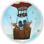 3 Dogs Singing In A Hot Air Balloon Round Beach Towel