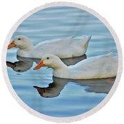 Round Beach Towel featuring the photograph 3- Ducks by Joseph Keane