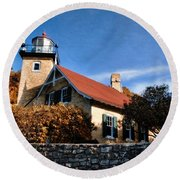 Eagle Bluff Lighthouse Round Beach Towel by Joel Witmeyer