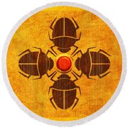 Round Beach Towel featuring the digital art Egyptian Scarab Beetle by John Wills