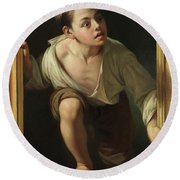 Round Beach Towel featuring the painting Escaping Criticism by Pere Borrell Del Caso