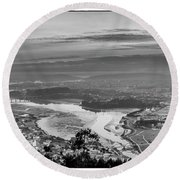 Round Beach Towel featuring the photograph Ferrol's Ria Panorama From Mount Ancos Galicia Spain by Pablo Avanzini