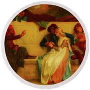 Round Beach Towel featuring the painting Florentine Poet by Alexandre Cabanel