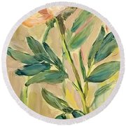 3 Flowers Round Beach Towel
