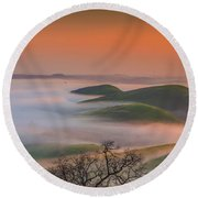 Fog At Sunrise Round Beach Towel