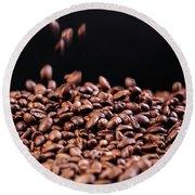 Fresh Roasted Coffe Beans Round Beach Towel