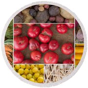 Fruit And Vegetable Collage Round Beach Towel