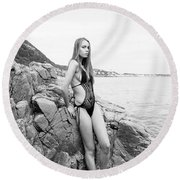 Girl In Black Swimsuit Round Beach Towel