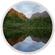 Golden Light In Glencoe Round Beach Towel