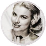 Grace Kelly, Vintage Hollywood Actress Round Beach Towel by John Springfield