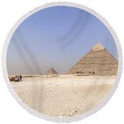 Great Pyramids Of Giza - Egypt Round Beach Towel