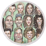 Group Caricature Round Beach Towel