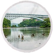 Henry Hudson Bridge Round Beach Towel