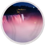 High Angle View Of A Waterfall Round Beach Towel