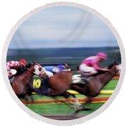 Horse Race Round Beach Towel