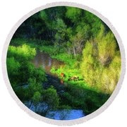 3 Horses Grazing On The Bank Of The Verde River Round Beach Towel