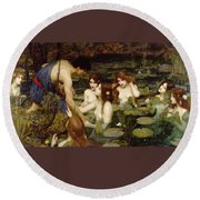 Hylas And The Nymphs Round Beach Towel