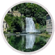 Round Beach Towel featuring the photograph Isola Del Liri Falls by Dany Lison