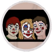 Round Beach Towel featuring the digital art 3 Jesters by Megan Dirsa-DuBois