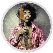 Jimi Hendrix Round Beach Towel