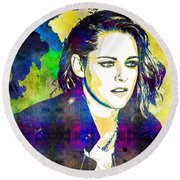 Round Beach Towel featuring the mixed media Kristen Stewart by Svelby Art