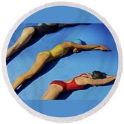 3 Lady Swimmers Round Beach Towel by Joan Reese