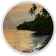 Round Beach Towel featuring the photograph Lahaina Sunset by Kelly Wade