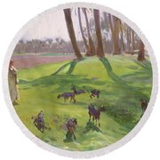 Landscape With Goatherd Round Beach Towel by John Singer Sargent