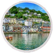 Looe In Cornwall Uk Round Beach Towel by Chris Smith
