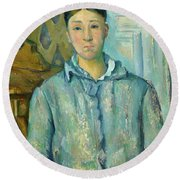 Madame Cezanne In Blue Round Beach Towel