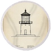 Makapuu Point Lighthouse - Hawaii - Blueprint Drawing Round Beach Towel