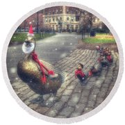 Round Beach Towel featuring the photograph Make Way For Ducklings - Boston Public Garden by Joann Vitali