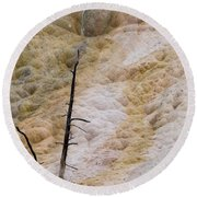 Round Beach Towel featuring the photograph Mammoth Hot Spring Terraces by Michael Chatt