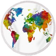 Map Of The World Map Watercolor Round Beach Towel