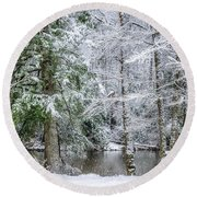 March Snow Along Cranberry River Round Beach Towel
