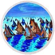 Monet Fishing Boats Calm Seas Round Beach Towel by Scott D Van Osdol