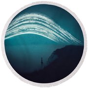 3 Month Exposure At Beachy Head Lighthouse Round Beach Towel