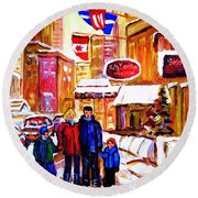 Round Beach Towel featuring the painting Montreal Street In Winter by Carole Spandau